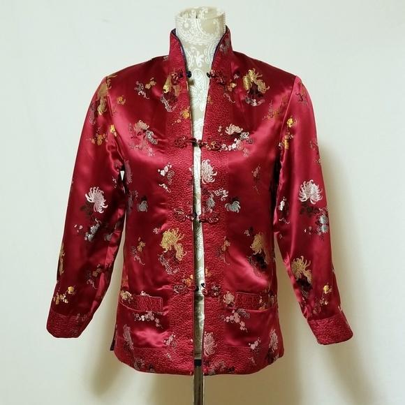 peony Jackets & Blazers - Vintage Peony Brand Reversible Rayon Jacket Sz M